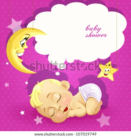 baby shower pink card with
