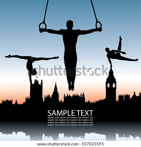 gymnastics and london skyline