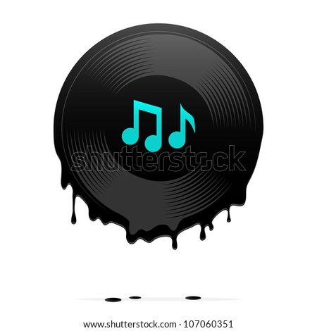 melted vinyl record with