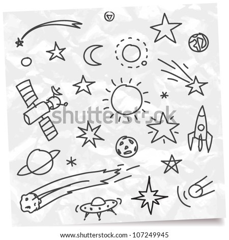 hand drawing space set