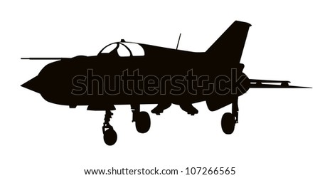 vector silhouette of mig 21