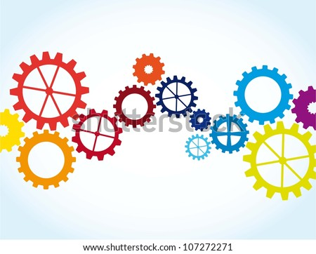colorful gears over blue