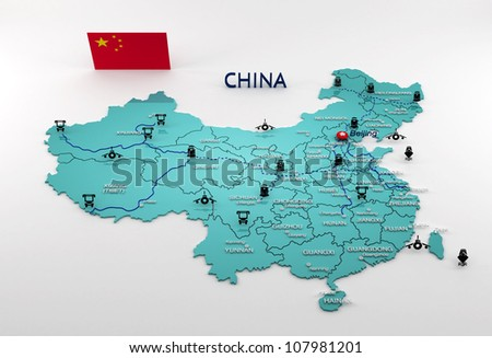 highly detailed china map with