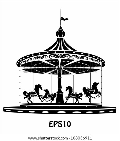 royalty free stock photos and images merry go round black and white silhouette. Black Bedroom Furniture Sets. Home Design Ideas