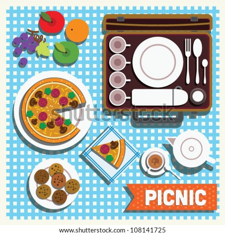 picnic blanket vector pizza