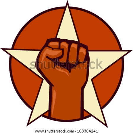 fist and star vector symbol