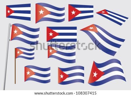 set of flags of cuba vector