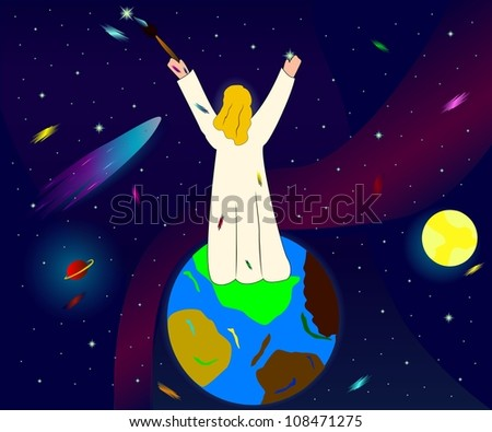 illustration of god creating