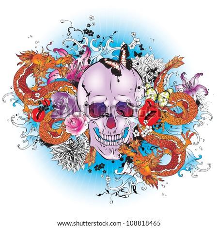 skull tattoo style graphic
