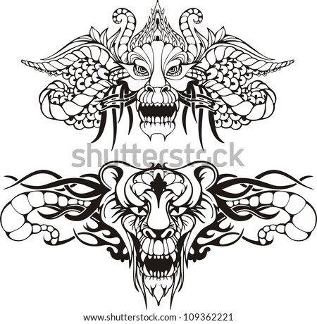 symmetric animal tattoos set