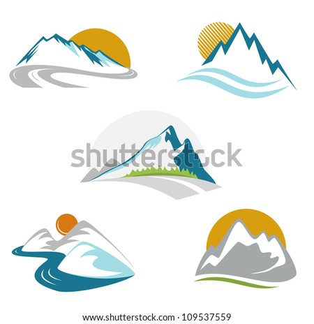 blue mountains emblem set