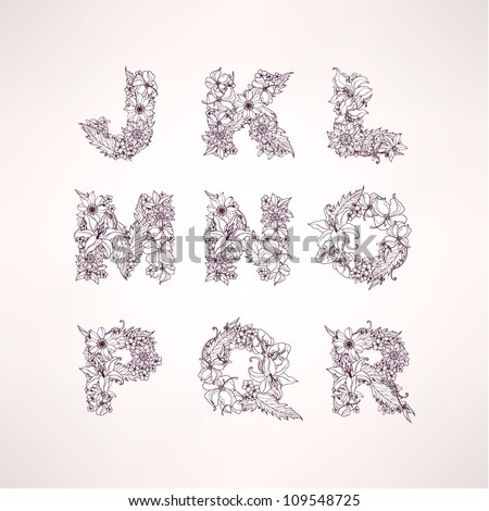 flowers vector alphabet letters