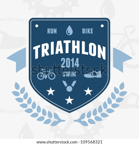 modern triathlon badge emblem