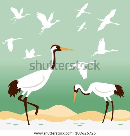 set of birds   flying cranes