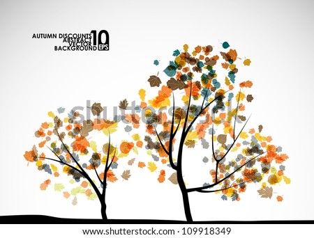 autumn tree background  eps10