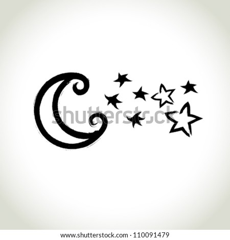 vector brushwork symbol  moon