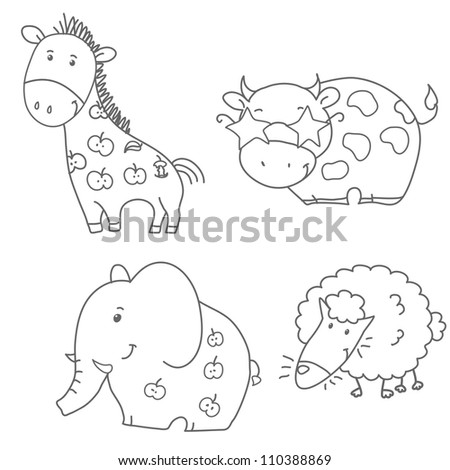 set of animals contour