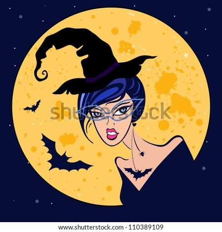 witch in moonlight halloween