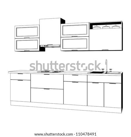 kitchen furniture set   sketch