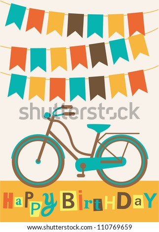 greeting card with cute bike