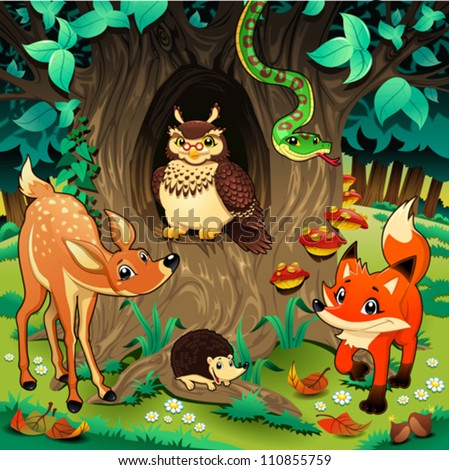 animals in the wood cartoon