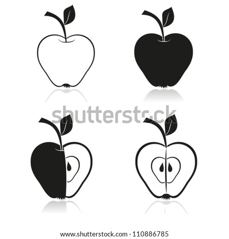 drawing of apples vector eps