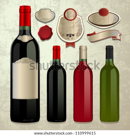 bottle of wine and vector