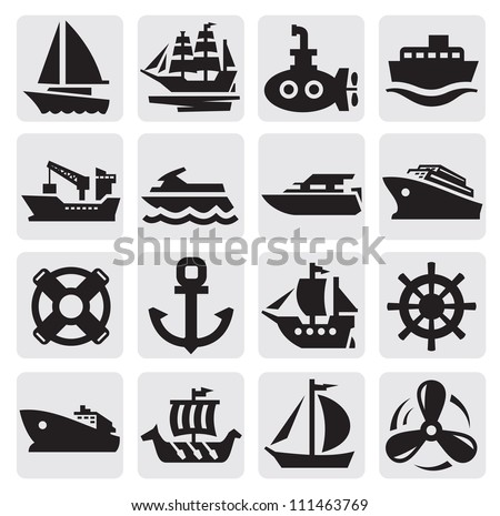 vector black boat and ship