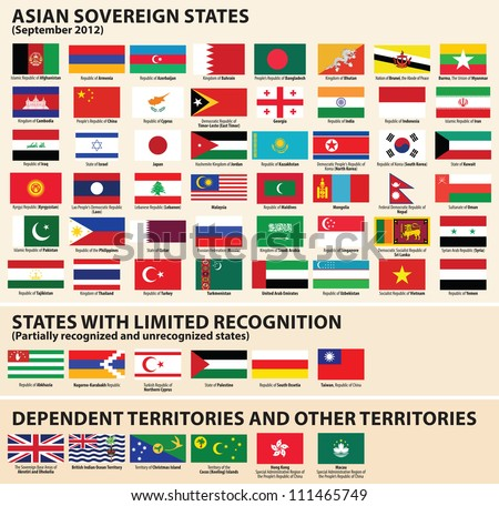 vector set of flags of asian