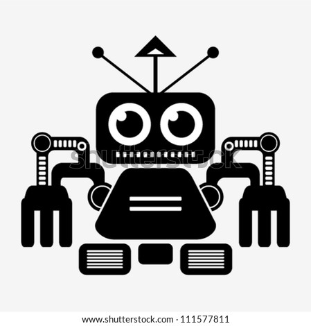 vector   robot  black and white