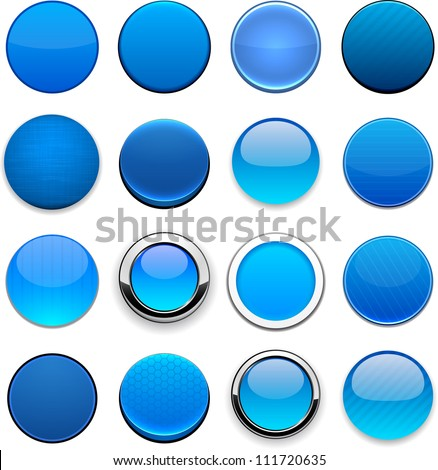 set of blank blue round buttons