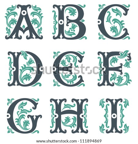 vector set of letters in the