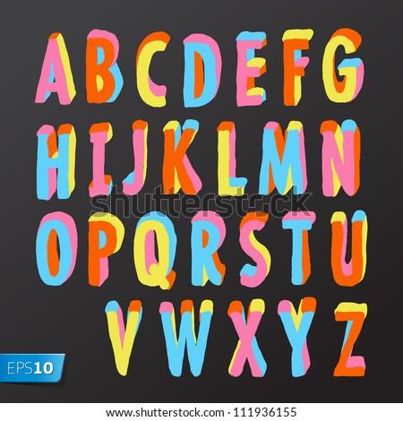 alphabet design in colorful