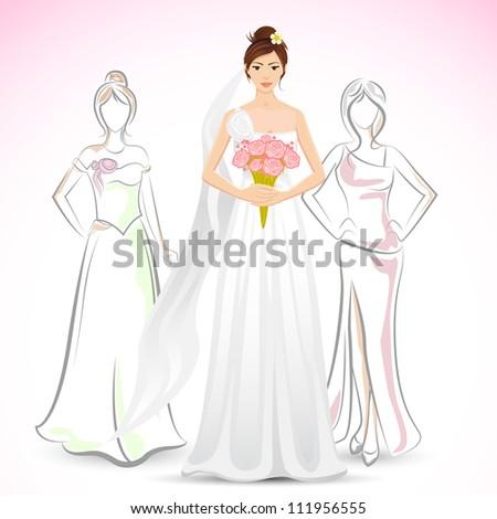 illustration of bride holding