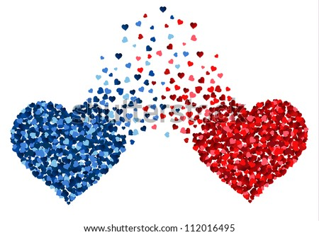 two hearts made of small hearts