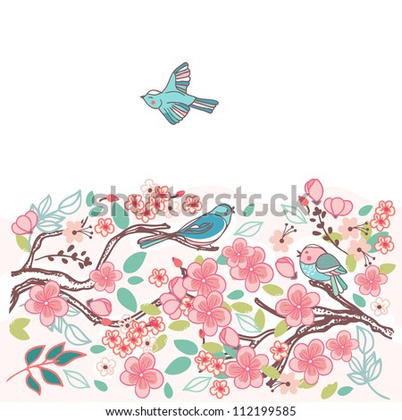 birds in a blooming tree