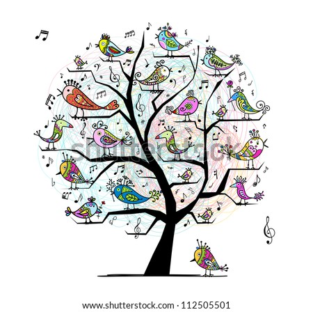 funny tree with singing birds