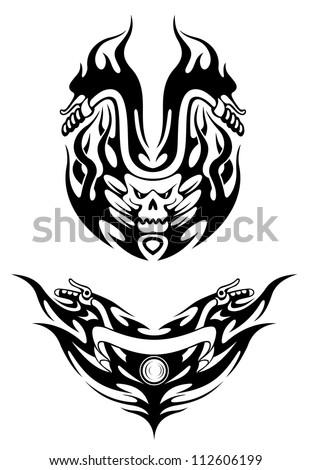 two bike tattoos in tribal