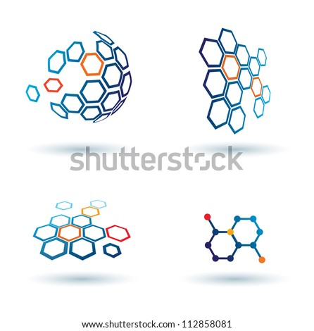 hexagonal abstract icons
