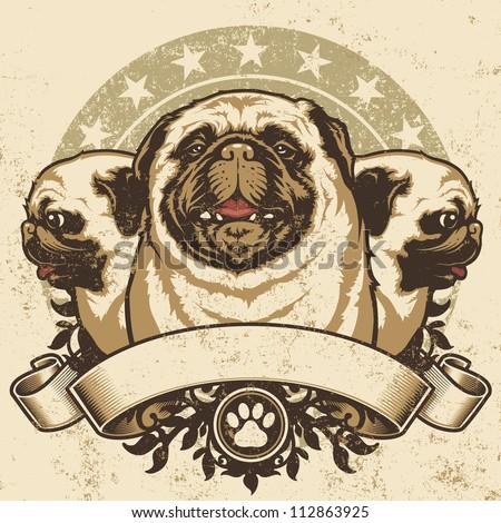 pug crest design vector
