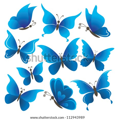 set abstract blue butterflies