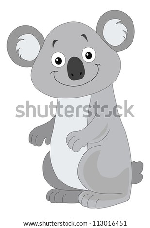 cute smiling grey koala  vector