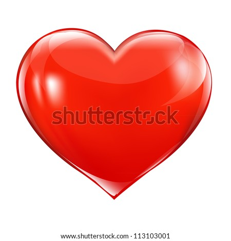 big red heart  isolated on