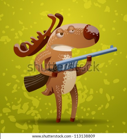 funny deer  vector 04