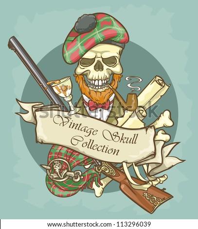 gentleman's skull logo design