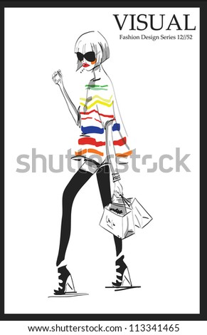 fashion sketch illustration girl