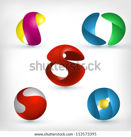 abstract 3d sphere logos