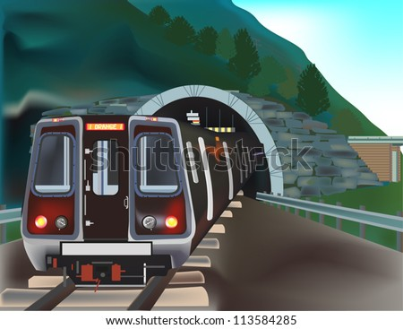 illustration with train in