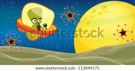 illustration of alien in the