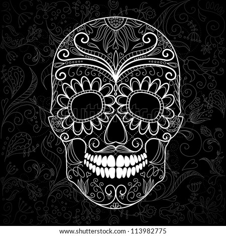 day of the dead black and white
